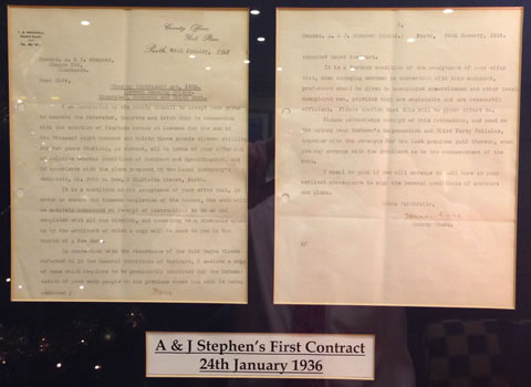 A & J Stephen (Bulders) Ltd first contract dated 1936